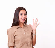 Charming latin female with surprised gesture Royalty Free Stock Image