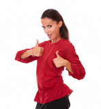 Charming latin female with thumbs up Royalty Free Stock Images