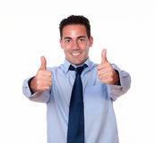 Charming latin man with ok sign Stock Photos