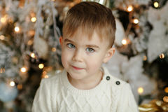 The charming little boy baby near Christmas tree, close-up portr Royalty Free Stock Images