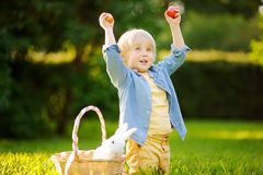 Charming little boy hunting for easter egg in spring park on Easter day Royalty Free Stock Photo