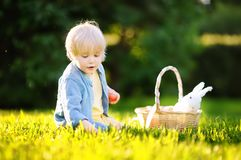 Charming little boy hunting for easter egg in spring park on Easter day Stock Image