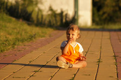 Charming little boy on walk Stock Photo