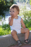 Charming little boy on walk Royalty Free Stock Images