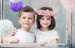 Charming little children posing together Stock Photo