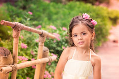 Charming little girl in a beautiful dress outdoor Stock Image