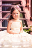 Charming little girl in a beautiful dress outdoor Royalty Free Stock Photos
