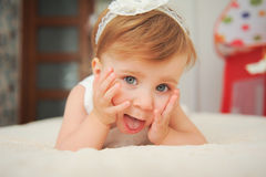 Charming Little Girl in Bed Stock Image