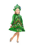 Charming little girl. Dressed in christmas tree costume. Isolated on white Royalty Free Stock Photography