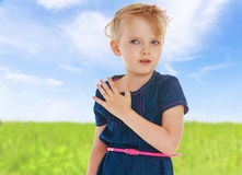 Charming little girl gesturing Royalty Free Stock Photo