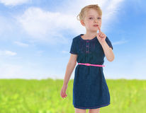 Charming little girl gesturing Royalty Free Stock Image
