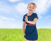 Charming little girl gesturing Royalty Free Stock Photography