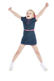 Charming little girl jumping high lifted up his Stock Image