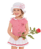 Charming little girl with red rose flower Royalty Free Stock Photography