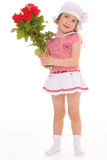 Charming little girl with red rose flower Stock Photography