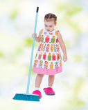 Charming little girl in slippers Royalty Free Stock Images