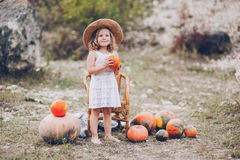Charming little girl in a straw hat, pumpkins Royalty Free Stock Images