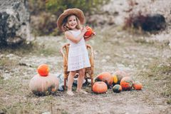 Charming little girl in a straw hat, wicker chair, pumpkins Royalty Free Stock Photography