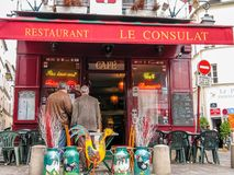 Charming little restaurant Le Consulat on Montmartre hill Royalty Free Stock Image
