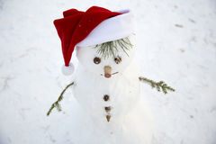 Charming little snowman with his hands from pine twigs in the re Stock Photos