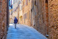 Charming little tight narrow streets of Volterra town. In Tuscany, Italy, Europe royalty free stock images