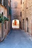 Charming little tight narrow streets of Volterra town. In Tuscany, Italy, Europe royalty free stock photography