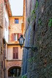 Charming little tight narrow streets of Volterra town. In Tuscany, Italy, Europe stock photography