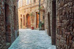 Charming little tight narrow streets of Volterra town. In Tuscany, Italy, Europe royalty free stock photos