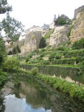 Charming Luxembourg City. A classic shot showing the authentic charm of Luxembourg City. Note the beautiful walled city separated by the natural foliage Stock Photography