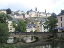 Charming Luxembourg City. A classic shot showing the bridge and its reflection with Luxembourg city ascending in the background Stock Photography