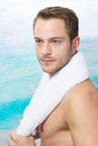 Charming man wiht towel - sexy Royalty Free Stock Photography