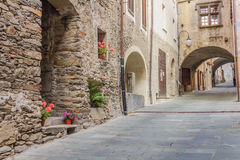 The charming medieval village of bard. A quiet medieval village with its typical stone-houses ,the arches and the stone-flooring  uphill Royalty Free Stock Photos