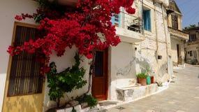 Charming Mediterranean street scene Kritsa village, Crete, Greece Royalty Free Stock Image
