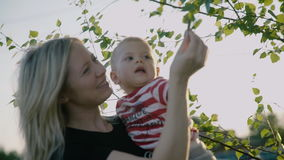 Charming mother holding little son in her arms, playing with birch`s leafs russian birch as background slowmotion 4k stock video footage