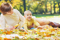 Charming mother looking after baby Royalty Free Stock Images