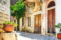 Charming narrow streets of traditional greek villages - Naxos is Stock Photo