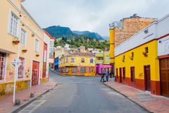 Charming neighbourhood of colorful two storey Royalty Free Stock Photo