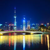 Charming night in shanghai. Scene from suzhou river Royalty Free Stock Image