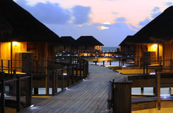 The Charming Night of Water Villa Royalty Free Stock Photos
