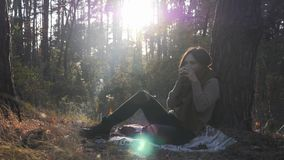 Charming nostalgic female traveler in cozy sweater and jeans drinking hot tea and relaxing in autumn forest on sunny warm day.  stock video
