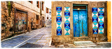 Charming old colorful streets of Greece, Rethymno town in Crete Royalty Free Stock Photo