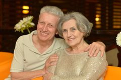 Charming old couple at the resort Stock Photography