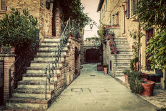 Charming old medieval architecture in a town in Tuscany, Italy. Royalty Free Stock Images