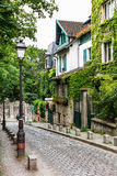 Charming old street of Montmartre hill. Paris, France Stock Photography