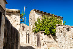 Charming old street of mountain Dora village. Limassol District, Stock Photo