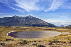 Charming oval lake in a mountain valley Stock Image
