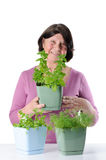 Charming pensioner with seedlings of basil, dill and cilantro. Royalty Free Stock Images