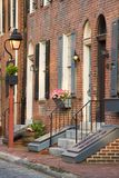 Charming Philadelphia Neighborhood. Charming brick rowhouses in Philadelphia, PA Stock Photography