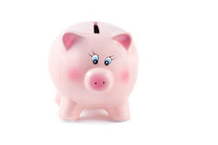 Charming  Piggy Bank on a White Background, Soft Focus Stock Photo