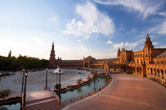 Charming Plaza de Espana in Seville at sunset Royalty Free Stock Images